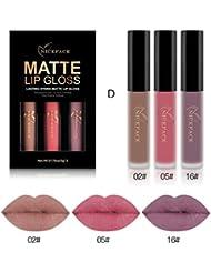 Ularma 3pcs Nouveau Mode Matte imperméable Rouge à lèvres liquide Cosmétiques Kit sexy Lip Gloss D