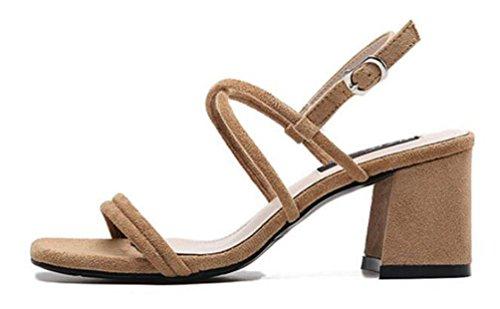OL sandali scrub doppio cintura chunky tacco alto aprire le cinghie cinghie inarcamento casual eleganti scarpe da donna UE taglia 35-39 Khaki