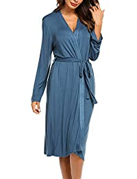 805f81fc24c176 Morgenmantel Damen Robe Pyjama Sexy Bademantel Leicht Sommer Jersey Kimono  lang Hausanzug Sleepwear