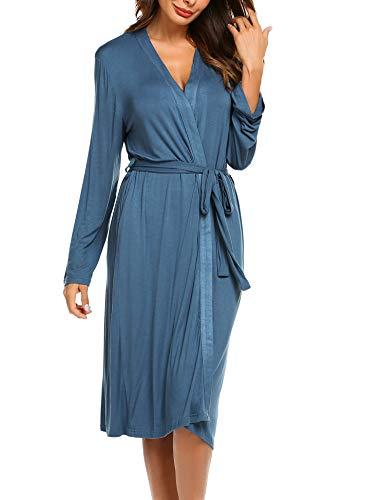 Morgenmantel Damen Sexy Bademantel Jersey Robe Saunamantel Frauen weich V Ausschnitt schlafmantel Stillen pyjamaslangarm