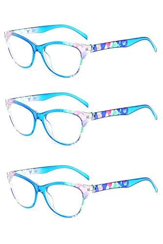 Inlefen 3er Pack Vintage Cat Eye Lesebrille Blumenmuster Rahmen Brillen für Frauen