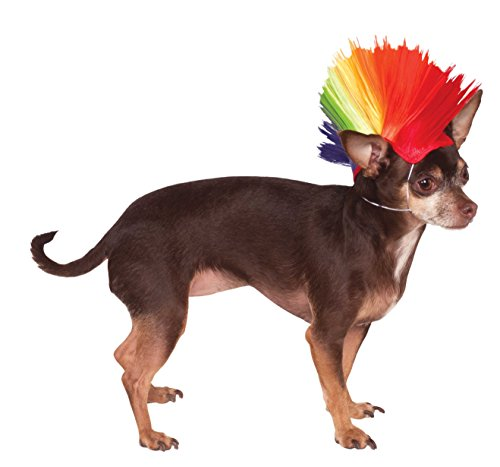 Rubies Costume Company Rainbow Mohawk Pet Perücke - Yorkie Food Dog