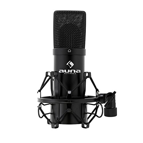 Auna MIC-900 USB Cardioid Studio Condenser Microphone (Plug & Play, USB Connector & Shockmount) black