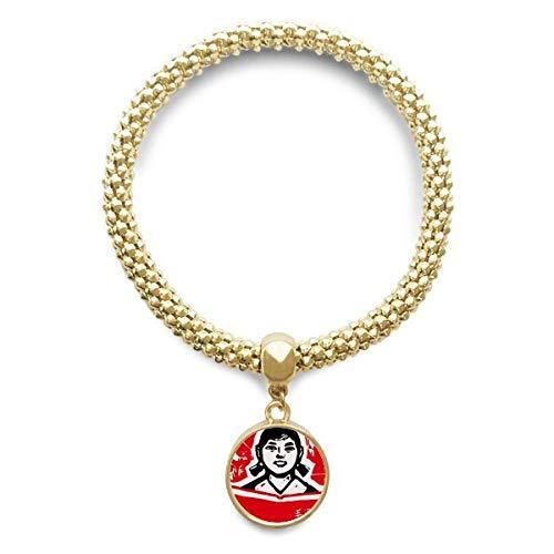DIYthinker Damen Mädchen-Buch Rot chinesischen Revolution goldene Armband Laufende Anhänger Schmuck-Kette