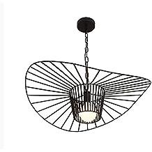 Osraed Nordic Industrial Wohnzimmer Kronleuchter, modernen, minimalistischen Bügeleisen Restaurant Lichter, Kreative Lotus Blatt, Strohhut, Coffee Shop Lampen, Schwarz Durchmesser 80 cm (ohne Leuchtmittel)