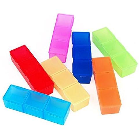 Molti colori 7 GIORNI niceeshop 3 volte in-a-Day arcobaleno farmaco scatola contenitore portaoggetti