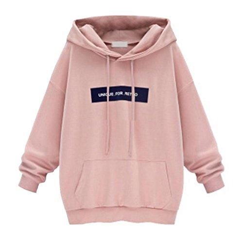 feiXIANG Mode Frauen Damen Große Größe mit Kapuze Buchstaben lose Fledermaus Pullover Lange ärmel Kapuzenpulli Sweatshirt Bluse (2XL, Rosa)