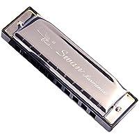 Preisvergleich für 10-Loch-goldene Farben Abdeckplatte Blues Harmonica Key of C schwarz