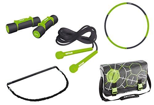 Kettler Body & Shape Set - inkl. Aerobic Hanteln, Speed Rope, Reifen, Multi Trainings Bar und Umhängetasche für das Ganzkörpertraining - das ideale Trainingsset für das Functional Training - schwarz & grün