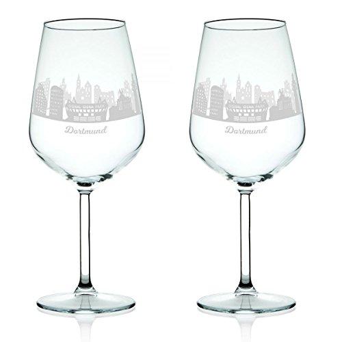 Leonardo Weinglas mit Gravur - Skyline Dortmund im Set - Geschenk für Anspruchsvolle &...