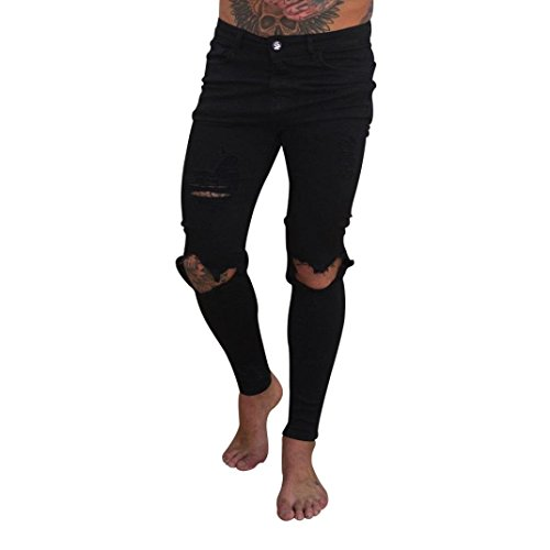 Pantalones Hombres Vaqueros Originales Rotos Casuales Motocicleta Pantalones  Slim Agujero Elasticos Streetwear Moda Pantalón STRIR ( d3f34a0ac5b2d