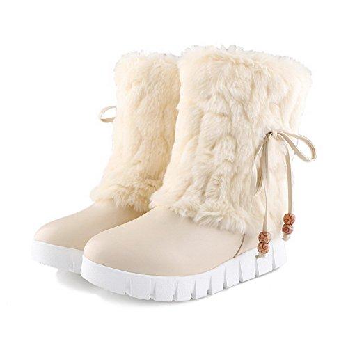 AllhqFashion Damen Weiches Material Rund Zehe Rein Niedriger Absatz Stiefel Cremefarben