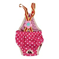 Dog Sanitary Pants, 6 Sizes Female Dog Doggy Puppy Diaper Nappy Physiological Sanitary Briefs Menstrual Suspender Underwear Pants for Small Medium Pet Dogs(XXS)