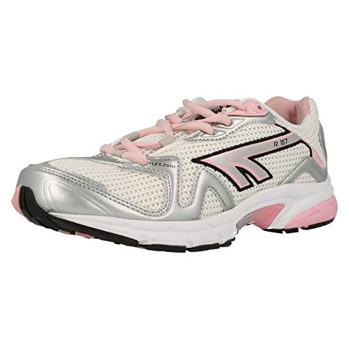 Hi-Tec R157, Chaussures de running entrainement femme Blanc - Weiß (White/Silver/Candy)