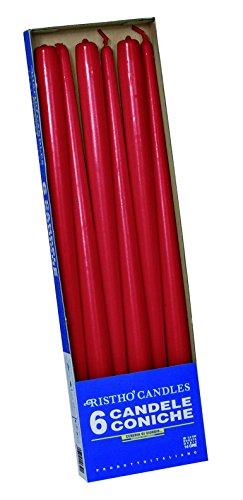 CERERIA DI Giorgio risthò Kerzen konisch-Kerzenhalter, Wachs, Rot, 2.2x 40cm, 6Stück