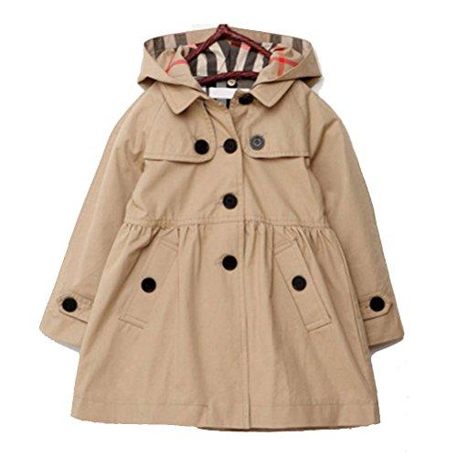 ARAUS-Mädchen Mantel Frühling Herbst klassische Jacke klein mädchen lang windjacke mit Kapuze baumwolle trenchcoat Khaki 120