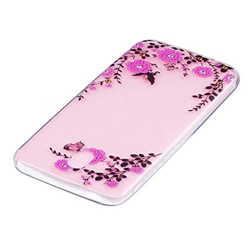 Hülle für Samsung Galaxy J7 2017, Case Cover für Samsung Galaxy J7 2017 [Scratch-Resistant] , ISAKEN Ultra Slim Perfect Fit Malerei Muster Weiche TPU Silikon Durchsichtig Transparent Protective Rückse Absenker Schmetterling