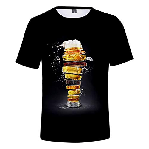 ZHANSANFM Herren Rundhals Trachten T-Shirt 3D Drucken Wiesn Shirt mit Bier Spaß Motiv Kurzarm Tops Oktoberfest Modern karnevalskostüme Deutsches Bierfest Kostüm Regular Fit (L, Schwarz) - Schwarz-marken Farbband