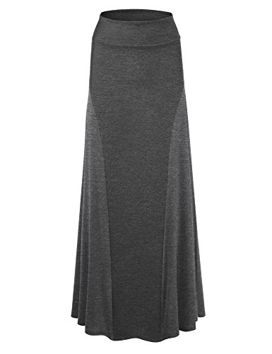 WB1371 Womens Maxi Skirt with Side Panel - Made in USA M Charcoal (Side Panel Lock)