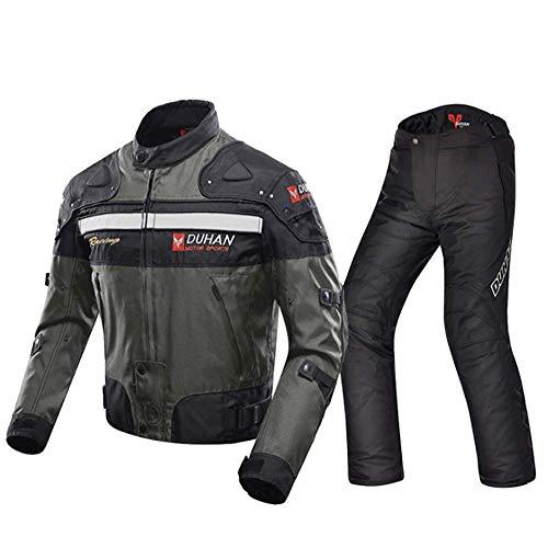 LELEADER Giacca da Moto Pantaloni da Equitazione Tuta da Giacca da Moto Sportiva con Armatura per l'Autunno Inverno Abbigliamento Protettivo Completo Tuta da Corsa Giacca Quattro Stagioni,Ab,M