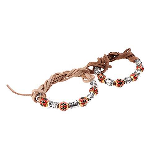 Homyl 2 Stück Haargummis Dreadlock Perlen Halskette Schmuck DIY Armband Anhänger - B