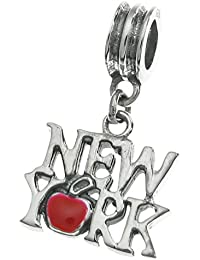 Abalorio de plata de ley 925 con diseño de la ciudad de Nueva York y el
