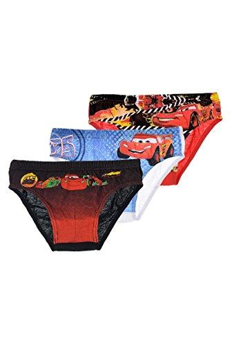 Disney Cars Lightning McQueen (3022) 3er Pack Kinder Unterhosen Slips, Gr.116/128, weiß grau rot