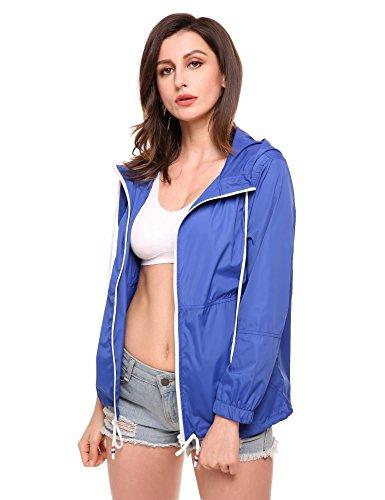 Damen Jacke Windbreaker Übergangsjacke Wasserabweisend Regenmantel Regenjacke mit Kapuze in 14 Farben Blau