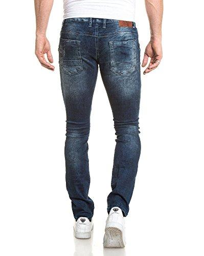 BLZ jeans - Jean homme bleu délavé slim nervuré Bleu
