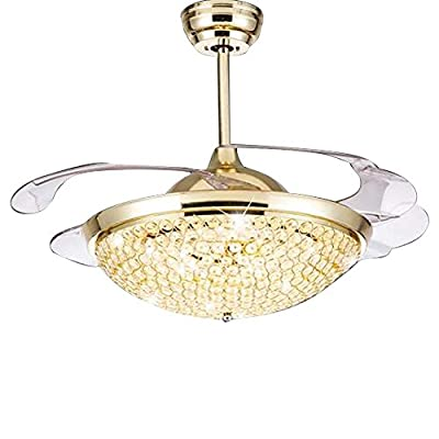 Invisible Fan Light Crystal Metal Ceiling Chandelier 42 inch LED Remote Control Ceiling Light Modern Ceiling Fan Light with Retractable Blade Dimmable Lighting Fan Chandelier Ceiling Light kit