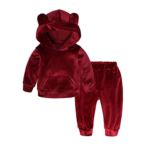 Kobay Baby Mantel Mädchen Winter Unisex Kleinkind Kid Langarm Solide Hoodie Tops + Pants Outfits Kleidung(12-18M,Rot)