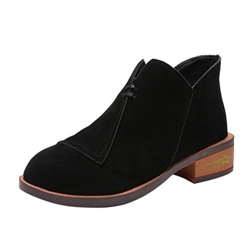 Bottines Chelsea en Daim Femme,Overdose Automne Hiver Chaussures Plates Botte Basses Noir Casual Boots