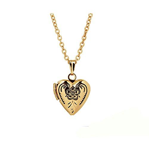 Blisfille Gold Halskette Herren Amulett Silber Zum Öffnen Damen Medaillon Zum Öffnen Mit Kette Gold Herz Kirschblüten Anhänger Fotomedaillon