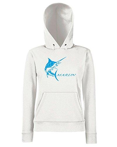 T-Shirtshock - Sweats a capuche Femme FUN1204 diecut vinyl fishing decal 12 31946 Blanc