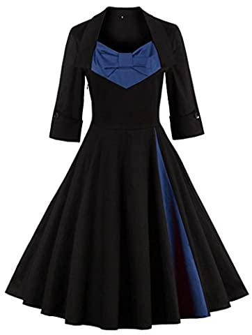 Oriention Womens 3/4 Sleeve Vintage 1950's Inspired Button Swing Evening Dress Rockabilly Pinup Bridesmaid Cocktail Gowns Ball Gown Party Dress Black/Navy 18