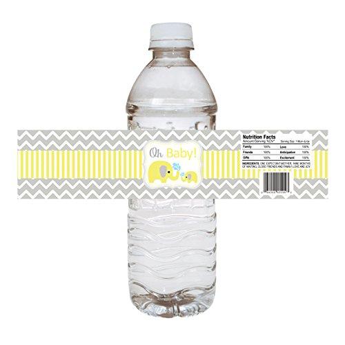 Adorebynat Party Decorations - EU Etiquetas de la botella de bebé elefante de agua - Baby Shower Party pegatinas bebidas - conjunto de 10