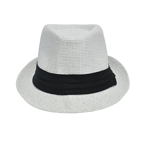 Mechhre Straw Hat Men Beach Panama Travel Tube Sun Protection Fedora Trilby Style Summer Cap Safari Outdoor Holiday Size 56-58