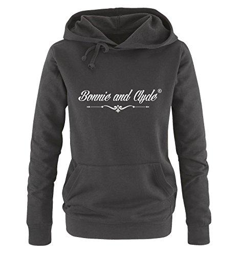 BONNIE AND CLYDE ® - Sweat à capuche - Manches Longues - Femme noir/argent