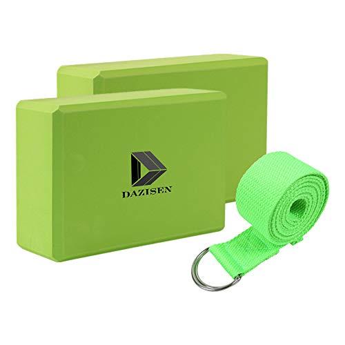 DAZISEN Essential Yoga Starter Set Kit – Yoga Block Blöcke Yoga Gürtel für Yoga oder Pilates Fitness Unterstützung und Balance