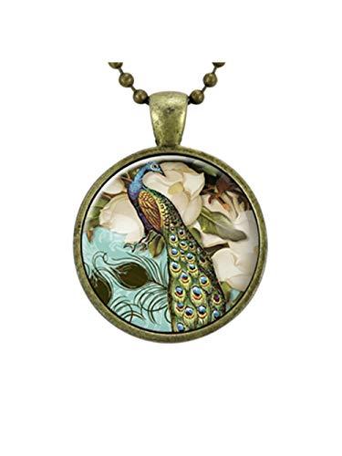 Viktorianischer Stil Pfau Schmuck Glas-Art Anhänger, Pfau Halskette -