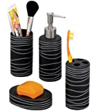 Zeller 18252 Bad-Accessories-Set, 4-teilig, Keramik, schwarz