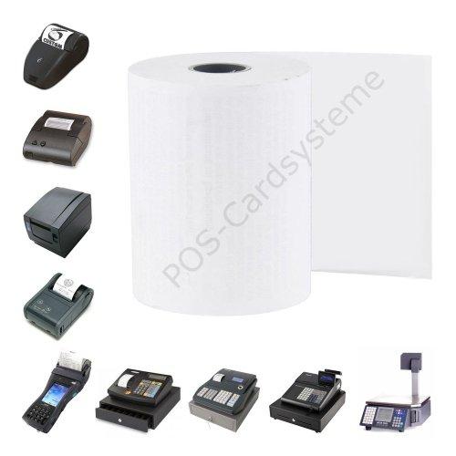 100 Stück Kassenrollen 76mm x 60m x 12mm für Epson TM-U220 B / Normalpapier / Bonrollen / Additionsrollen / holzfrei - U220-serie