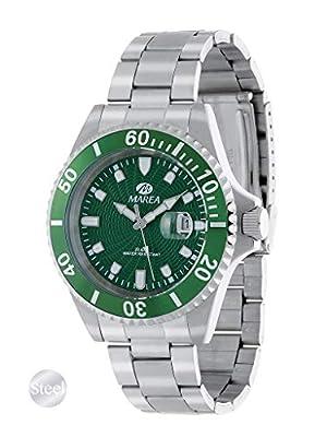 Reloj Acero Marea Analógico Hombre B36094/14 Calendario y Esfera Verde