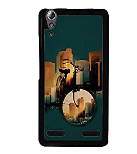Fuson Premium City Ride Metal Printed with Hard Plastic Back Case Cover for Lenovo A6000 Plus