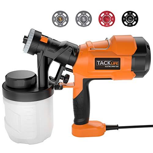 Pistolet à Peinture, TACKLIFE 800 ml/min pulvérisateur de peinture, avec trois modèles de pulvérisation, quatre tailles de buse, bouton de soupape réglable, couvercle de recharge rapide de 900 ml