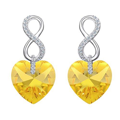 EVER FAITH® 925 Plata Esterlina CZ Figura 8 Pendientes de Corazón de Infinito con Cristales Amarillos de Swarovski®