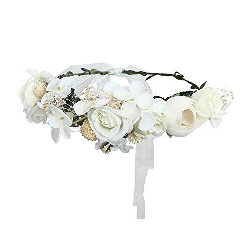 Fang-denghui, Frauen Hochzeit Floral Krone Kopf Band Floral Blume Stirnband Für Brautjungfer Braut Girlande Stirn Haar Band (Color : - Softball Prinzessin Kostüm