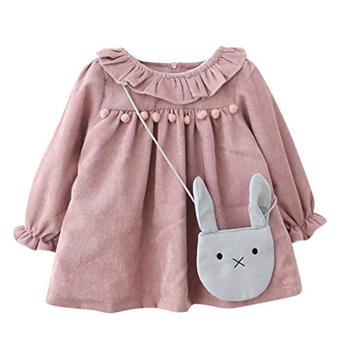 MRULIC Baby Mädchen langärmelige Lotusblatt-Kragen-Tasche Princess Dress Pullover Outfits Winteranzug Kinder Baby Mädchen Gestreifte Prinzessin ()