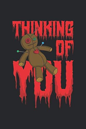 Thinking Of You: Voodoo Halloween Notizbuch / Tagebuch / Heft mit Karierten Seiten. Notizheft mit Weißen Karo Seiten, Malbuch, Journal, Sketchbuch, Planer für Termine oder To-Do-Liste.