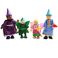 Bigjigs Toys Wooden Fantasy Dolls - Wood Doll House Figures, Playset